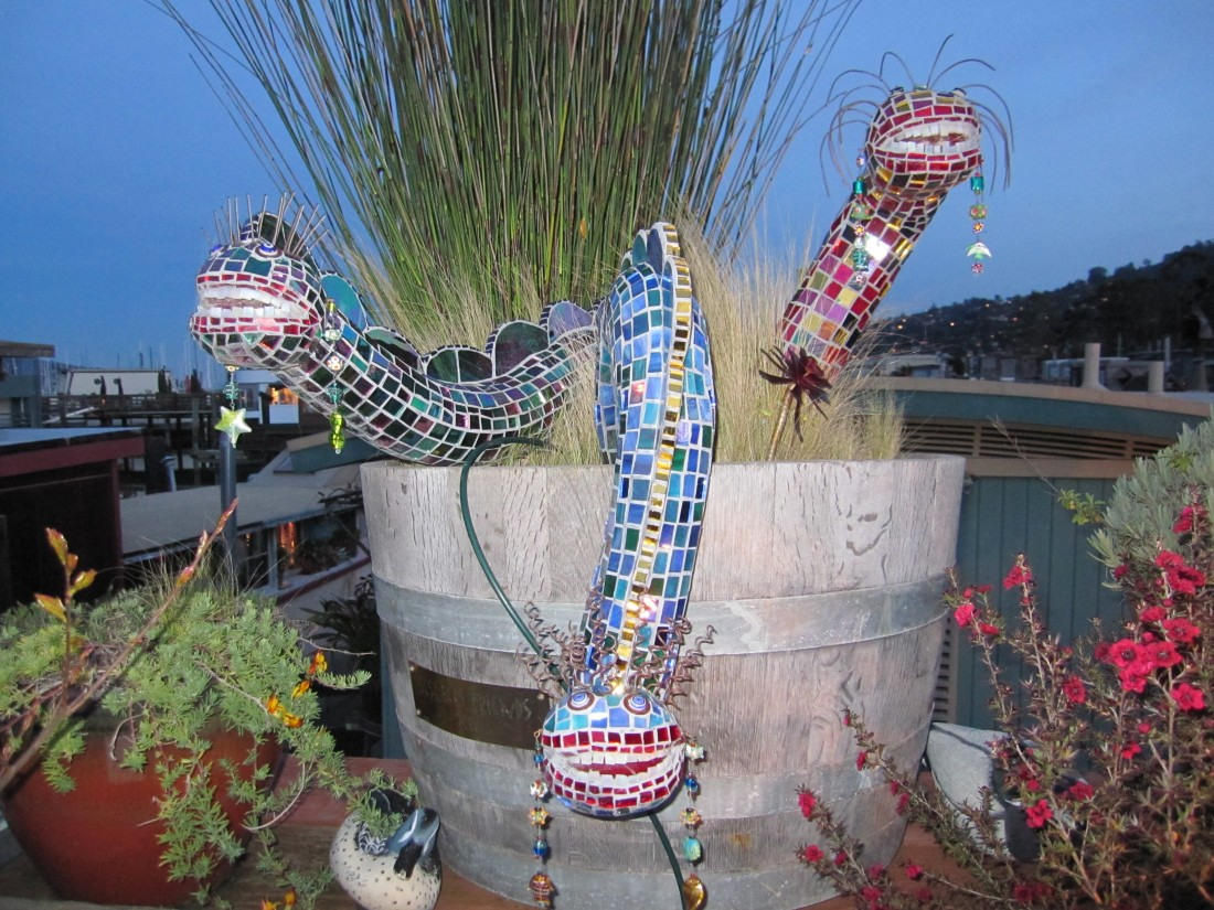 Embellishments outside a houseboat in Sausalito by Kelley Eling, Marin County Realtor