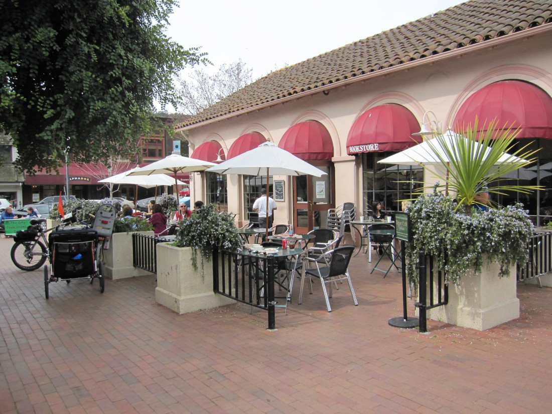 The patio at The Depot Coffee Bookstore and Cafe on the Plaza in Mill Valley, by Kelley Eling, Marin County Realtor
