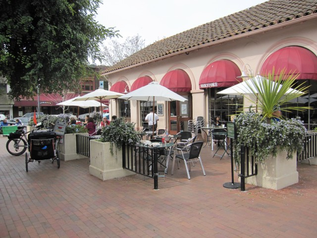 The patio at The Depot Cafe on the Plaza in Mill Valley, by Kelley Eling, Marin County Realtor