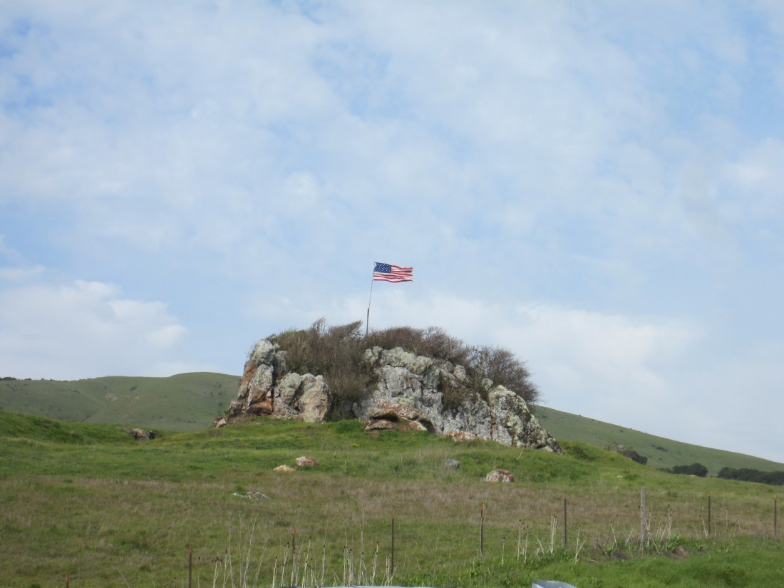 American flag flying from a rock outcropping near the junction of Pt. Reyes-Petaluma Road and Nicasio Valley Road, by Kelley Eling, Marin County Realtor