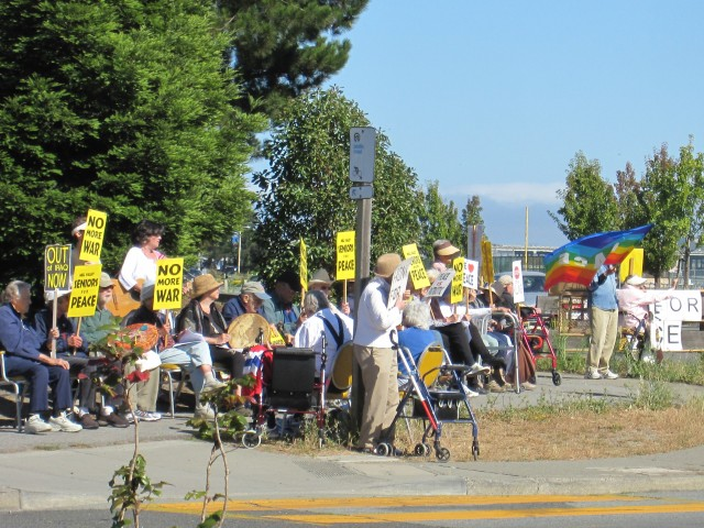 Seniors Protesting Outside The Redwoods Retirement Home in Mill Valley by Kelley Eling, Marin County Realtor