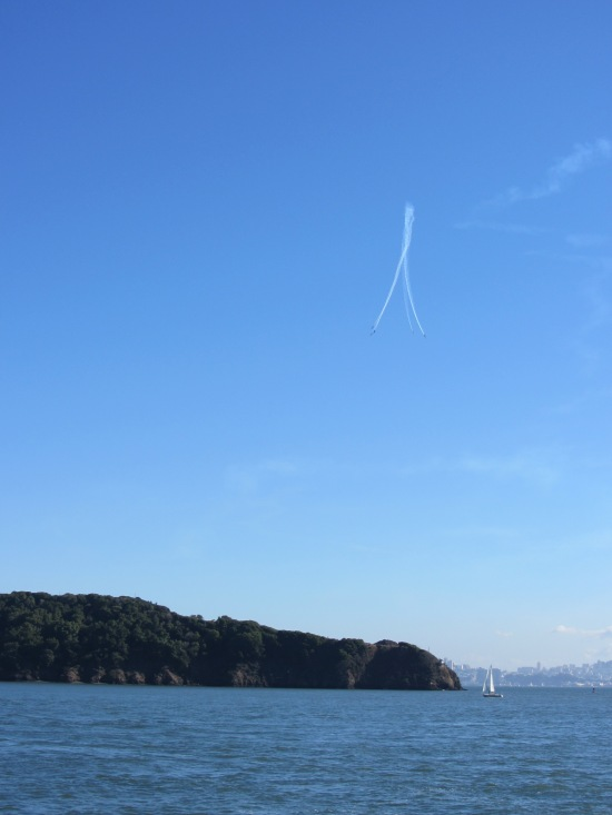 Blue Angels in a nose dive over Angel Island during Fleet Week 2011 by Kelley Eling, Marin County Realtor