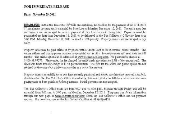 Marin County Property Taxes Are Due December 12 2011