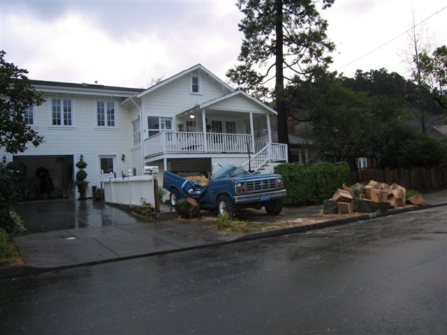 Truck Crushed By A Tree in San Anselmo by Kelley Eling, Marin County Realtor