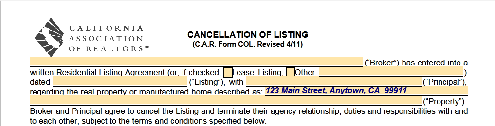Yes You Can Cancel A Real Estate Listing Agreement In California